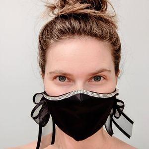 Chic Black Shantung Silk (A) Face Mask Organza